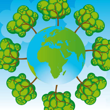 green and blue planet and tree over blue background Vector