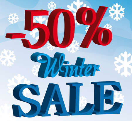 blue and red promotion winter sale over sky with snow background Vector
