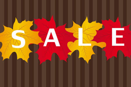 half price: red and gold leaves with sale text over brown lines background.
