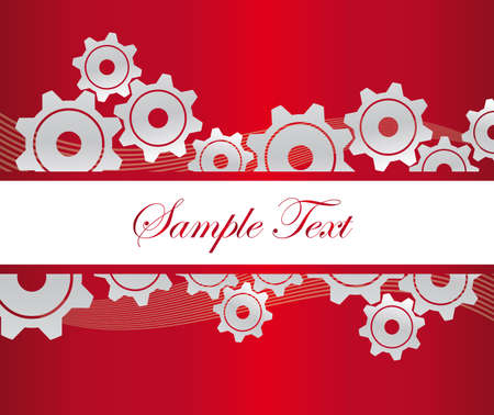 silver gears with waves with white frame over red background.  Vector