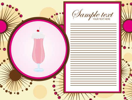 milkshake: pink and brown milk shake menu over abstract flowers background. Illustration