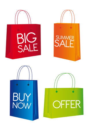 clearance: red,orange,blue and green shopping bags isolated over white background.
