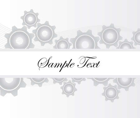 gray and white gears with blank frame over gray and white background. vector Vector