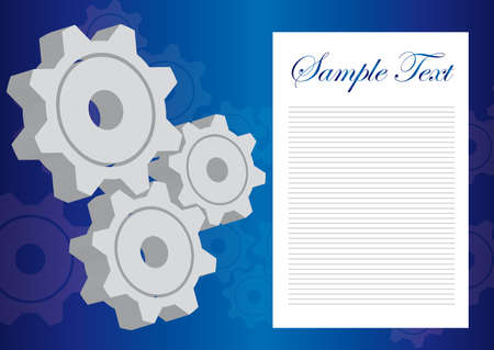 gray and white blank gears over blue background. vector Vector