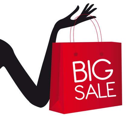 price cut: red shopping bag with silhouette hand isolated over white background. vector Illustration