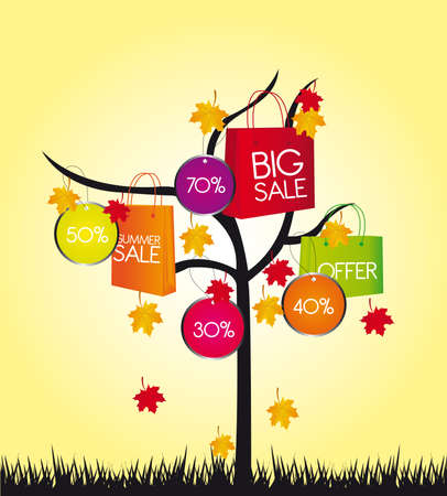 hot sale: colors shopping bags with tree over yellow background. vector