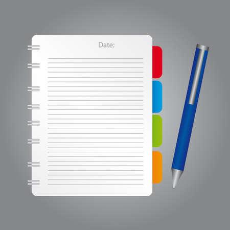 바인더: 흰색, 빨강, 파랑, 녹색, 회색 배경 위에 파란색 펜 오렌지 빈 참고. 벡터 일러스트