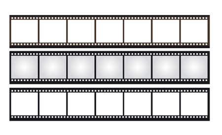roll film: black,brown,gray,white negative photo isolated over white background. vector Illustration