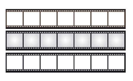 Roll film: negro, marr�n, gris, fotograf�as en blanco y negativos aislados sobre fondo blanco. vector Vectores