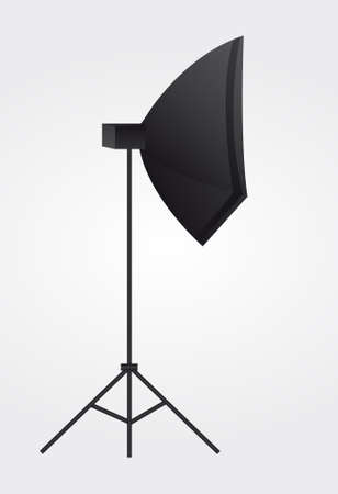 tripod: black lighting equipment over gray and white background.vector