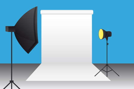 strobe light: blue,black,white,yellow,gray photography studio background. vector