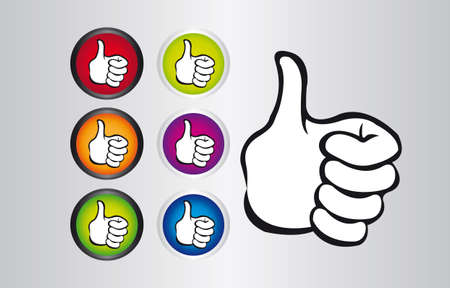 colors thumb up buttons and hand thump up over gray background. vector Stock Vector - 10253132