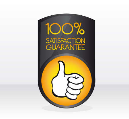 seal of approval: black and orange 100 percent satisfaction guarantee sign with shadow over gray and white background