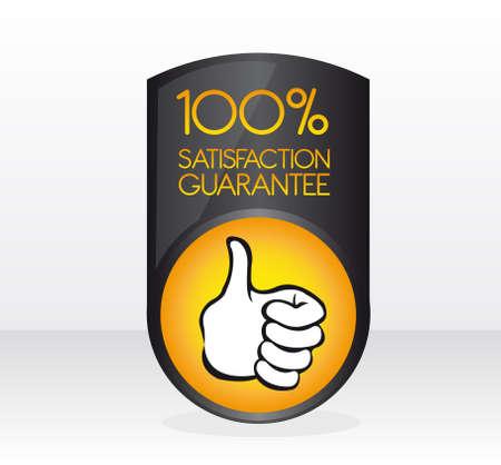 zufriedenheitsgarantie: Schwarz und Orange 100 Prozent Zufriedenheitsgarantie Schild mit Schatten auf wei�em Hintergrund grau und Illustration