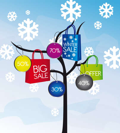 winter sales: colors shopping bags with tree over snowing background. vector