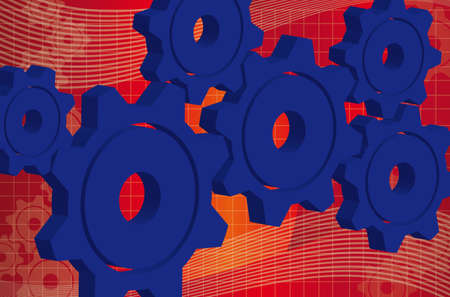 3d gears blue over red and white wave background. vector Vector