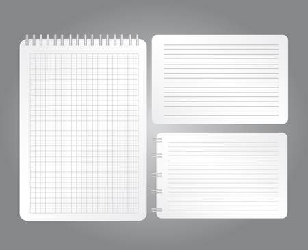 white black notebooks with lines and grid sheet over gray background. vector Vector