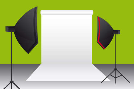 green,black,white, red photography studio background. vector Stock Vector - 10253136