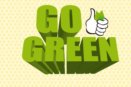 3d go green with thumb up over cream background. vector Vector