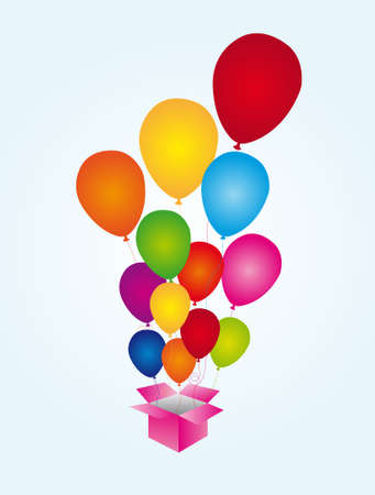 balloons surprise colors with pink box over blue background. vector Stock Vector - 10253189