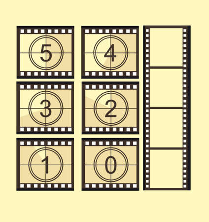 old film strip countdown with old film strip without numbers over yellow background. vector Vector