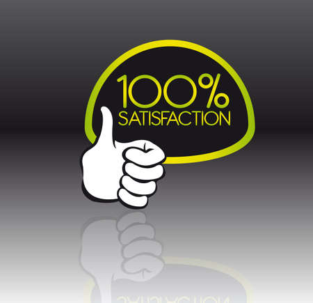 commitments: green and black 100 percent satisfaction with reflection with thumb up Illustration