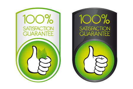 green 100 satisfaction guarantee with thumb up over white background. vector Illustration
