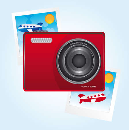 red camera and photos over blue background. vector Vector