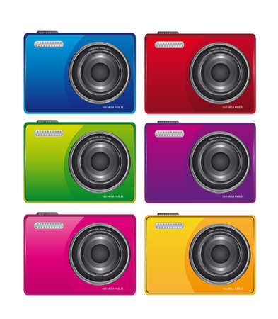 digital photo: color camera isolated over white background. vector Illustration