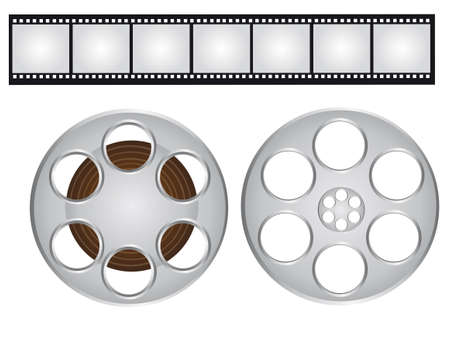 gray and black films strip and video film isolated over white background. vector Vector