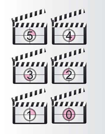 black and white clappers boards countdown over gray background. vector Vector