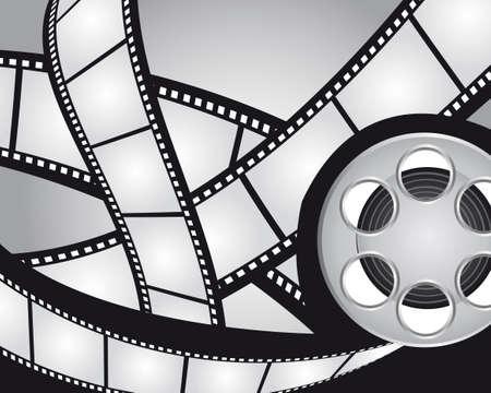 videofilm: Grau und Schwarz Filme Streifen-und Video-Film Hintergrund. Vektor Illustration