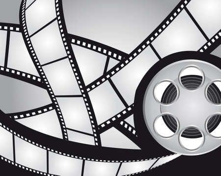 gray and black films strips and video film background. vector Vector