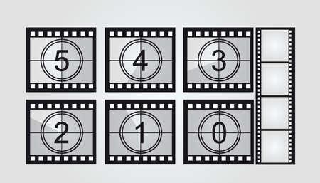 кинематография: черно-белая кинопленка обратного отсчета на сером фоне. вектор Иллюстрация