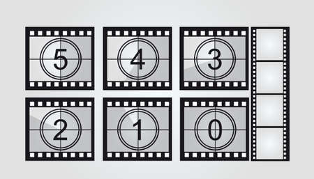 video still: black and white film strip countdown over gray background. vector Illustration