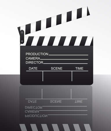 black and white clapper board with reflection over white background. vector Stock Vector - 10255990