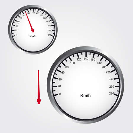 kilometer: gray, white and black Speedometer over gray background.  vector