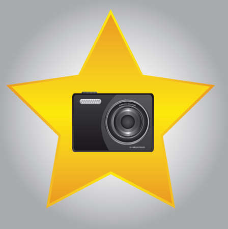 black camera over gold star over gray background. vector