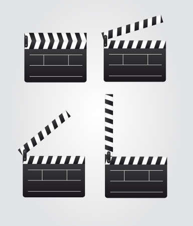 black and white clappers boards over gray background. vector Stock Vector - 10257496