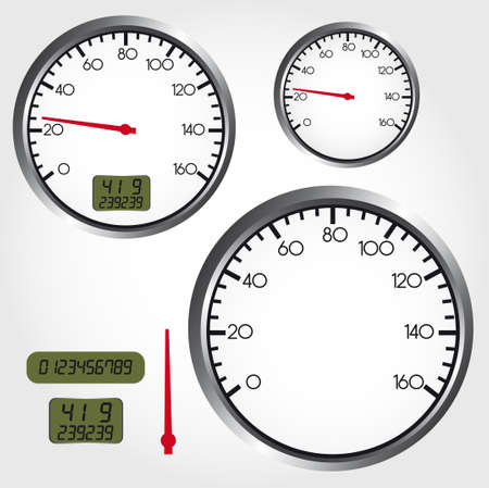 speedometer: silver and red dashboard dial over gray background. vector