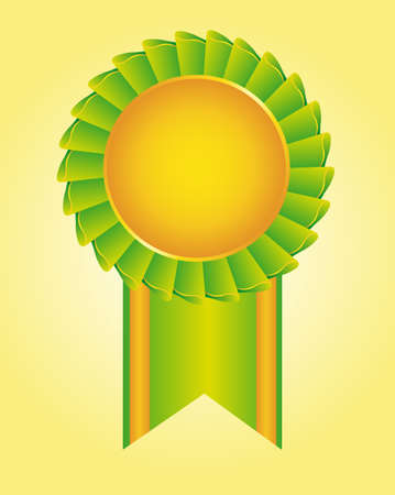 blank green and gold rosette over yellow background. vector Vector