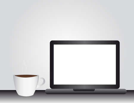 contact details: black computer and coffee cup over gray background. vector Illustration