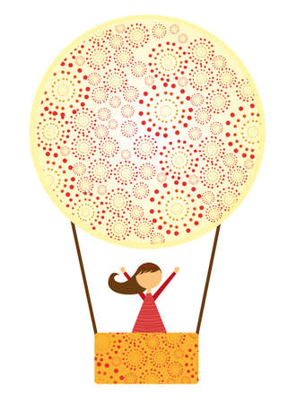 cute air balloons with girl isolated over white background. vector Vector