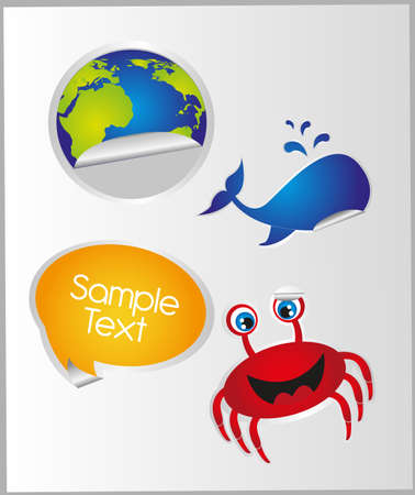 animals and objects stickers over paper background. vector Stock Vector - 10768187