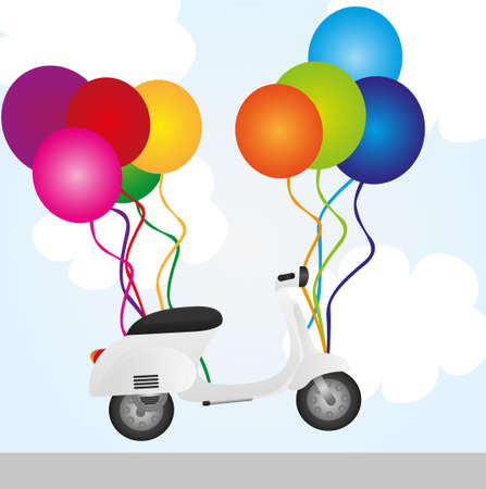 moped: motorbike and balloons over sky background. vector Illustration