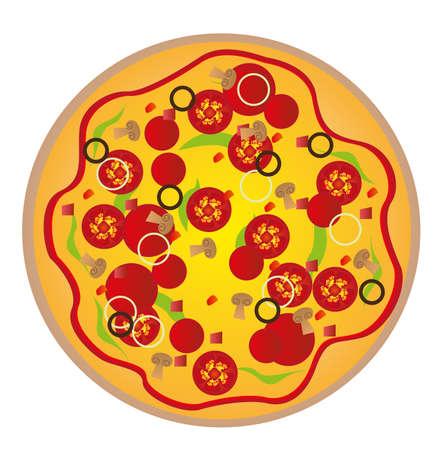 vector de pizza aislado sobre fondo blanco. Vector