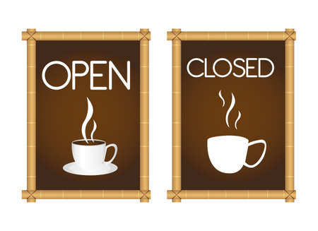 brown coffee signs with coffe cup and bamboo isolated. vector Stock Vector - 10768185