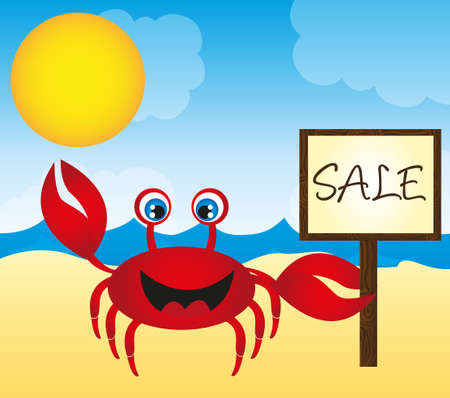 red crab cartoon in the beach landscape. vector