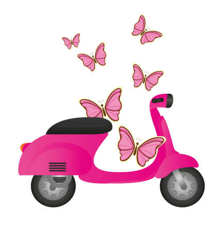 vespa piaggio: moto rosa carino con le farfalle isolato. vettore