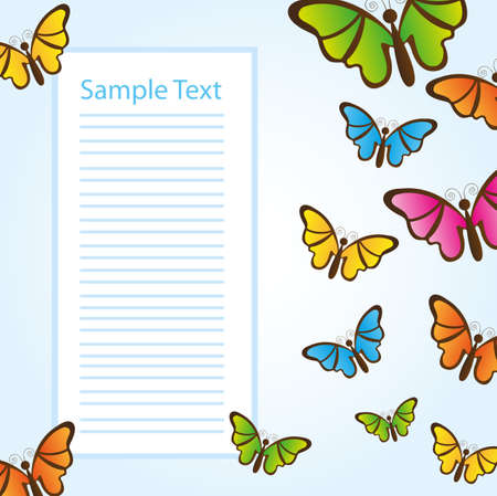 space advertising with colorful butterfly over blue background. vector Illustration